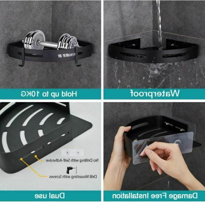 Adhesive Bathroom Caddy 2 Pack With 4 Hooks