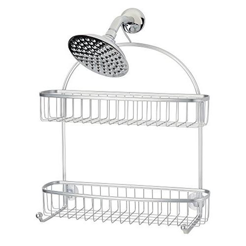 mDesign Extra Wide Tub Shower Caddy, Hanging Storage Organizer with 2 Built-in Hooks and on Levels Stalls, Bathtubs - Resistant Steel Wire, Silver