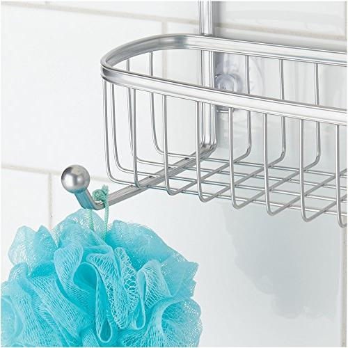 mDesign Extra Tub & Hanging Organizer with 2 and Baskets 2 Levels Stalls, - Resistant Wire, Silver