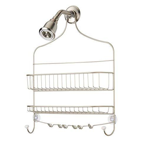 mDesign Wide Wire Bathroom Tub Shower Organizer Built-in Hooks and 2 Levels, Rust -