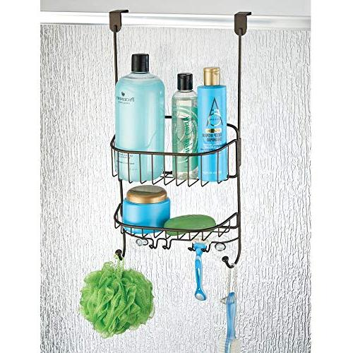 mDesign Metal Over Shower Door Caddy, Storage Organizer Center with Hooks and Stall/Tub, Body Wash, Bronze