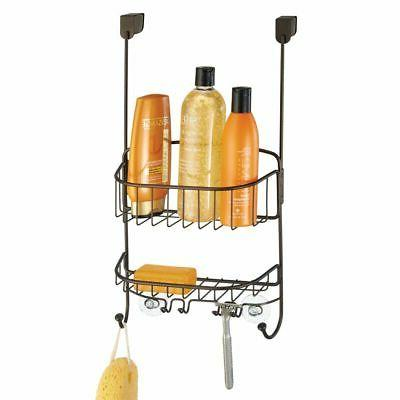 mDesign Modern Over Door Organizer Center with Hooks and Baskets for Stall/Tub, Holds Shampoo, Body Wash, Loofahs, Bronze