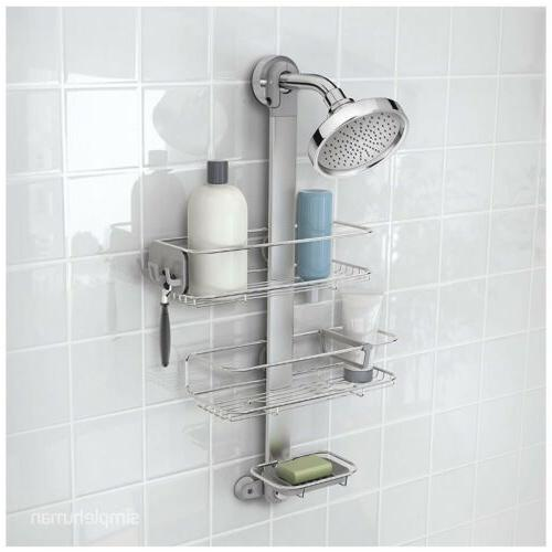 simplehuman Adjustable Shower Caddy Plus, Stainless Steel +