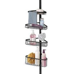 mDesign Bathroom Shower Storage Constant Tension Corner Pole