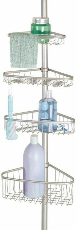 mDesign Metal Bathroom Shower Constant Tension Pole Caddy, 4