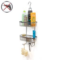 Art Moon Fact 2-Tier Shower Caddy with 6 Hooks No Drill Rust