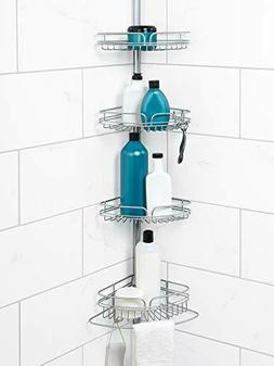 Zenna Home Shower Tension Pole Caddy, 4 Baskets, Wall Mount,